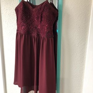 Maroon spaghetti strap dress